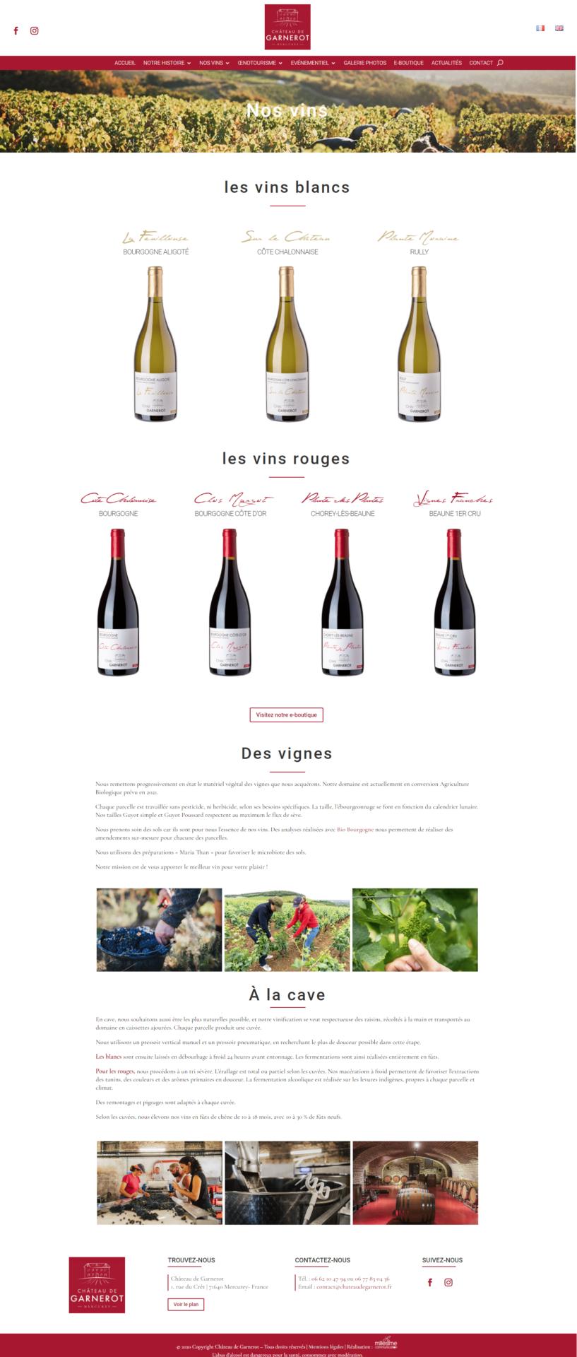 Château de Garnerot - Site internet - Nos vins