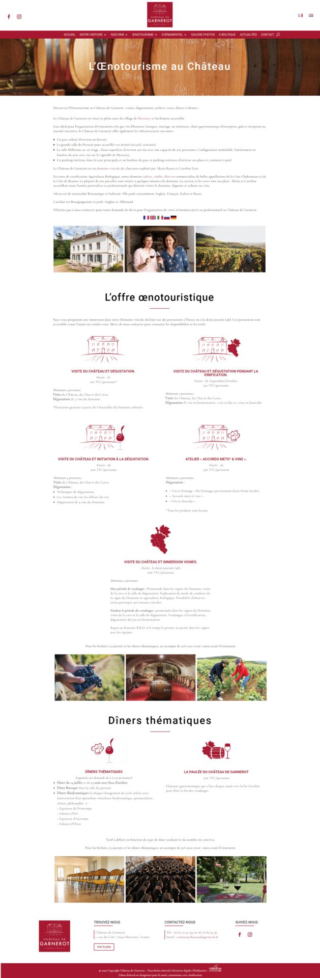 Château de Garnerot - Site internet - Œnotourisme
