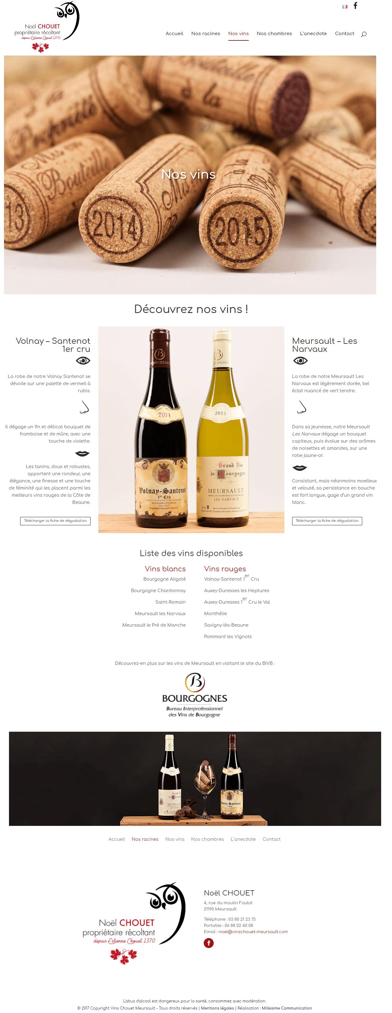 Site internet - Vins Noel Chouet - Vins